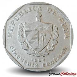 CUBA - PIECE de 50 CENTAVOS - Cathédrale de La Havane - 1994