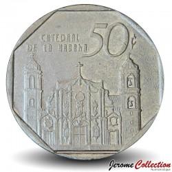 CUBA - PIECE de 50 CENTAVOS - Cathédrale de La Havane - 1994 Km#578