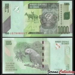 CONGO - BILLET de 1000 Francs - Okapi / Perroquet - 2020 P101c