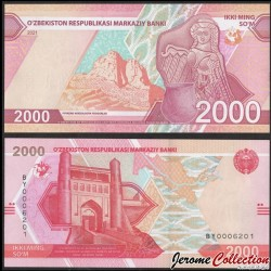 OUZBEKISTAN - Billet de 2000 Som - La citadelle Ark - 2021 P87a