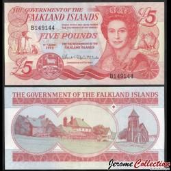 MALOUINES / FALKLAND - Billet de 5 Pounds - Cathédrale et monument aux os de baleine - 2005 P17a
