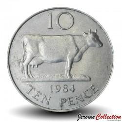 GUERNESEY (île de) - PIECE de 10 Pence - Vache Guernesey - 1984 Km#30