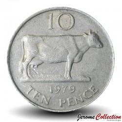 GUERNESEY (île de) - PIECE de 10 Pence - Vache Guernesey - 1979 Km#30