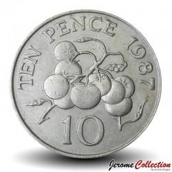 GUERNESEY (île de) - PIECE de 10 Pence - Tomates - 1987 Km#43