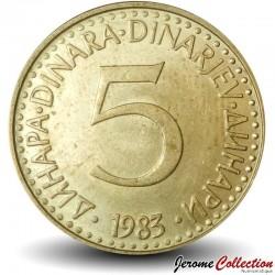 YOUGOSLAVIE - PIECE de 5 Dinars - 1983 Km#88