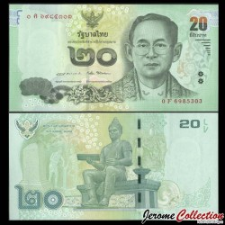 THAILANDE - Billet de 20 Baht - Roi Rama IX - 2016 P118c