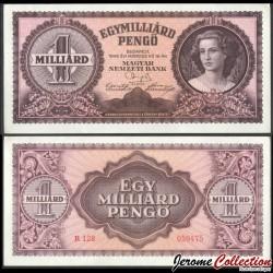 HONGRIE - Billet de 1 000 000 000 Pengő - Lendvay Lúcia - 1946 P125a