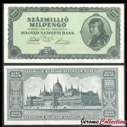 HONGRIE - Billet de 100 000 000 Milpengő - Bâtiment du Parlement - 1946 P130a