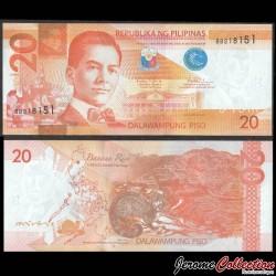 PHILIPPINES - Billet de 20 Piso - Civette - 2016H P206a12
