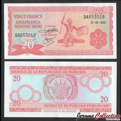 BURUNDI - Billet de 20 Francs - 1.8.2001 P27d2