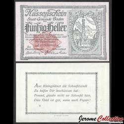 AUTRICHE - Billet de 50 Heller - Stadt-Gemeinde Baden - 1920 N#206638