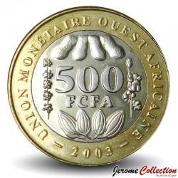 AFRIQUE DE L'OUEST (BEAO) - PIECE de 500 Francs - Cabosses de cacao - Bimétal - 2003 Km#15