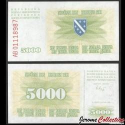BOSNIE HERZEGOVINE - Billet de 5000 Dinara - 1993 P16a