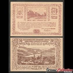 AUTRICHE - Billet de 50 Heller - Zwettl im Mühlkreis - 1921 N#272669