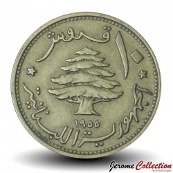 LIBAN - PIECE de 10 Qirush / Piastres - 1955 Km#23