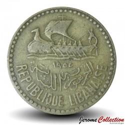 LIBAN - PIECE de 10 Qirush / Piastres - 1955