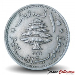 LIBAN - PIECE de 10 Qirush / Piastres - 1961 Km#24