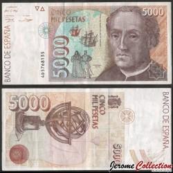 ESPAGNE - Billet de 5000 Pesetas - Christophe Colomb - 1992 P165a