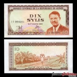 GUINEE - Billet de 10 Sylis - 1971
