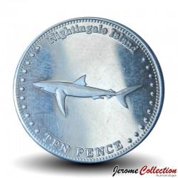 ILE NIGHTINGALE - PIECE de 10 Pence - Un requin bleu - 2011 N#32593