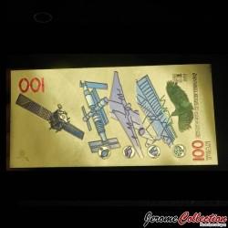 CHINE - Billet de 100 Yuan - Aérospatiale- Doré - 2015