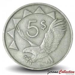 """NAMIBIE - PIECE de 5 Dollars - Aigle """"Bateleur des savanes"""" - 1993 Km#5"""