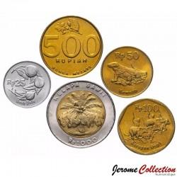 INDONESIE - SET / LOT de 5 PIECES de 25 50 100 500 1000 Rupiah - 1992 1993 1995 1996 Km#55 60 61 66 67 70