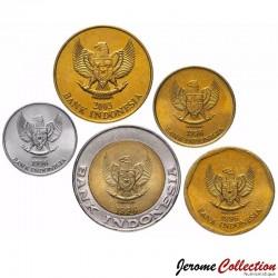 INDONESIE - SET / LOT de 5 PIECES de 25 50 100 500 1000 Rupiah - 1992 1993 1995 1996
