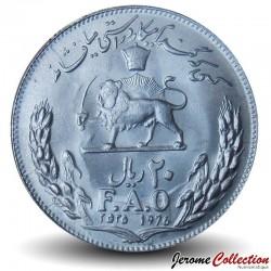 IRAN - PIECE de 20 rials - Muhammad Reza Pahlavi - FAO - 1976