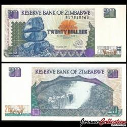 ZIMBABWE - Billet de 20 DOLLARS - Les chutes Victoria - 1997 P7a