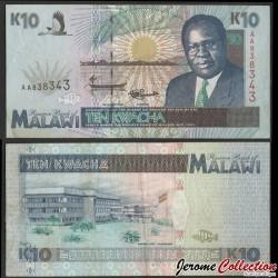 MALAWI - Billet de 10 Kwacha - Président Bakili Muluzi / Grue royale - 1.6.1995 P31a