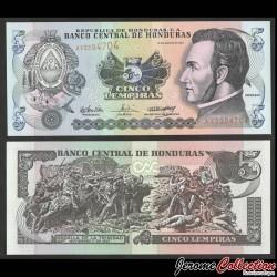 HONDURAS - Billet de 5 Lempiras - Bataille de Trinidad - 26.08.2004 P85d