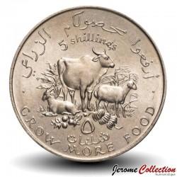 SOMALIE - PIECE de 5 shillings - Vache, chèvre, mouton - FAO - 1970 Km#15