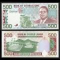 SIERRA LEONE - Billet de 500 Leones - Président Dr. Joseph Saidu Momoh - 27.04.1991 P19a