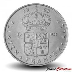 SUEDE - PIECE de 2 kronor - Gustaf VI Adolf - 1969