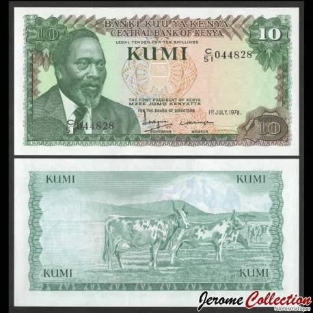 KENYA - Billet de 10 Shillings - Président Mzee Jomo Kenyatta / Vaches - 1978 P16a