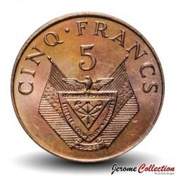 RWANDA - PIECE de 5 Francs - Branche de caféier - 1987