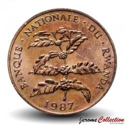 RWANDA - PIECE de 5 Francs - Branche de caféier - 1987 Km#13