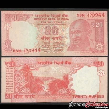 INDE - Billet de 20 Roupies - Lettre E - Gandhi - 2014