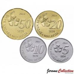 MALAISIE - SET / LOT de PIECE de 5 10 20 50 Sen - 2014 Km#201 202 203 204