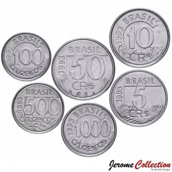 BRESIL - SET / LOT de 6 PIECES de 5 10 50 100 500 1000 Cruzeiros reais - Animaux - 1992 1993 1994