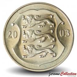 ESTONIE - PIECE de 1 kroon - Le petit blason (trois lions) - 2003