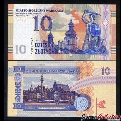 POLOGNE - Billet de 10 zlotych - Varsovie - 2017