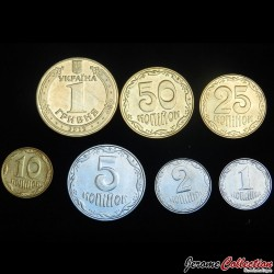 UKRAINE - SET / LOT de 7 PIECES de 1 2 5 10 25 50 Kopiyok 1 Hryvnia - 2012 2013 2014 2016