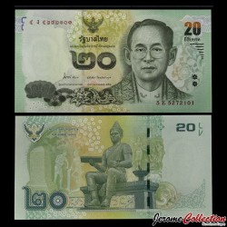 THAILANDE - Billet de 20 Baht - 2013