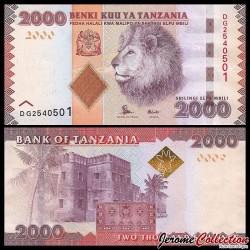 TANZANIE - Billet de 2000 Shillings - Tête de lion - 2015