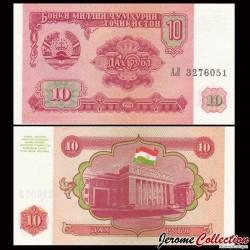 TADJIKISTAN - Billet de 10 Roubles - 1994