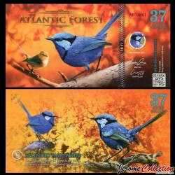 ATLANTIC FOREST - Billet de 37 Aves - Mérion splendide - 2017
