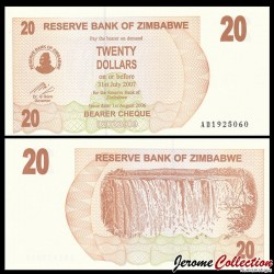 ZIMBABWE - Billet de 20 DOLLARS - Bearer cheque - 01.08.2006