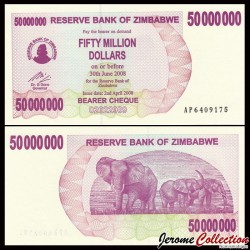 ZIMBABWE - Billet de 50000000 DOLLARS - Bearer cheque - 02.04.2008